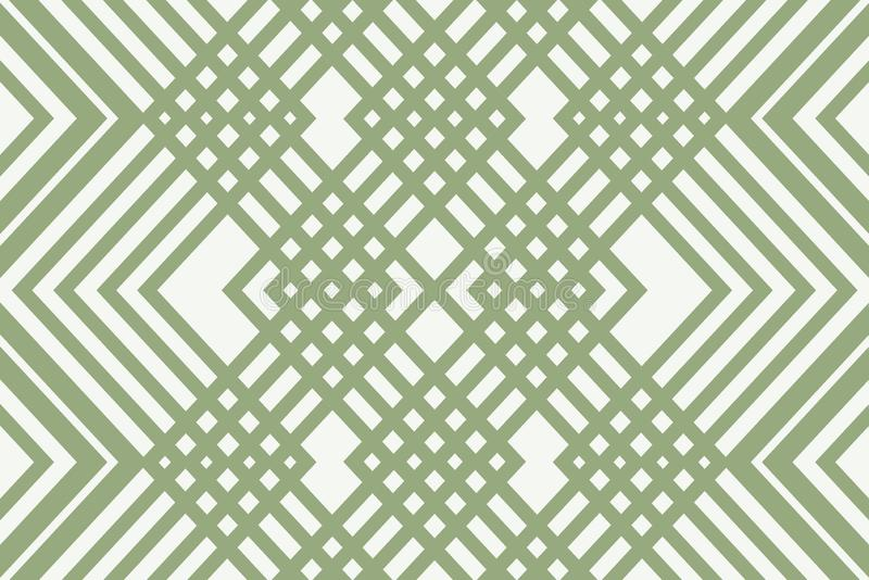 Linear green ornament pattern. Uncomplicated simple background from the ornament of green lines on a light background stock illustration