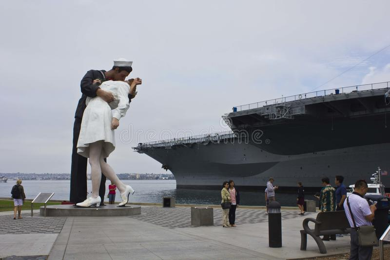Unconditional Surrender - The Kiss. The 25-foot installation officially known as Unconditional Surrender recreates the famous embrace between a sailor and a royalty free stock images