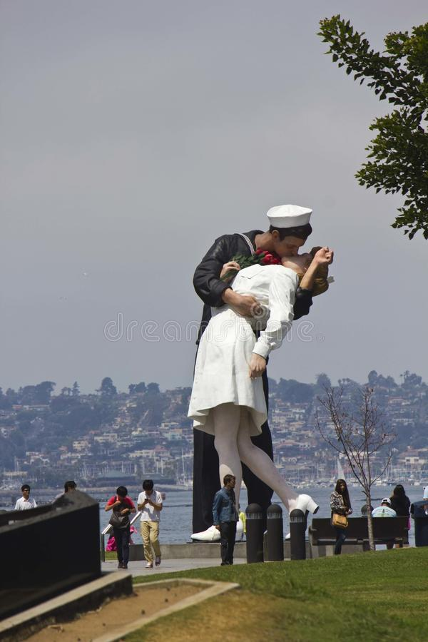 Unconditional Surrender - The Kiss. The 25-foot installation officially known as Unconditional Surrender recreates the famous embrace between a sailor and a stock photos