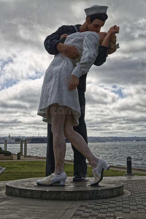San Diego, United States Of America- April 13,2013: Unconditional Surrender sculpture. Unconditional Surrender sculpture sailor kissing girl statue San Diego stock images