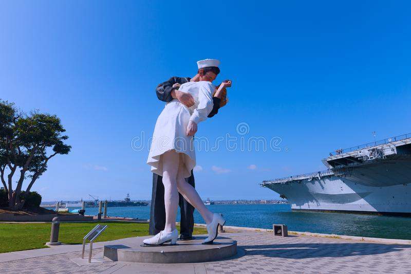 Unconditional Surrender sculpture, San Diego, California. stock photo