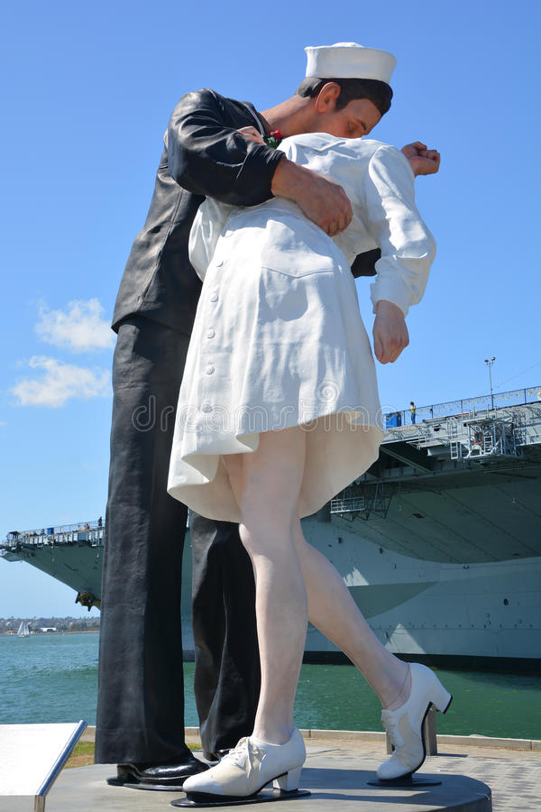 Unconditional Surrender sculpture. SAN DIEGO USA APRIL 8 2015: Unconditional Surrender sculpture at sea port in San Diego. By Seward Johnson, the statue royalty free stock photo