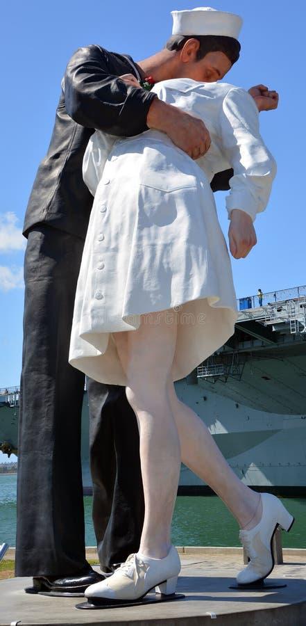 Unconditional Surrender sculpture. SAN DIEGO USA APRIL 8 2015: Unconditional Surrender sculpture at sea port in San Diego. By Seward Johnson, the statue stock photos