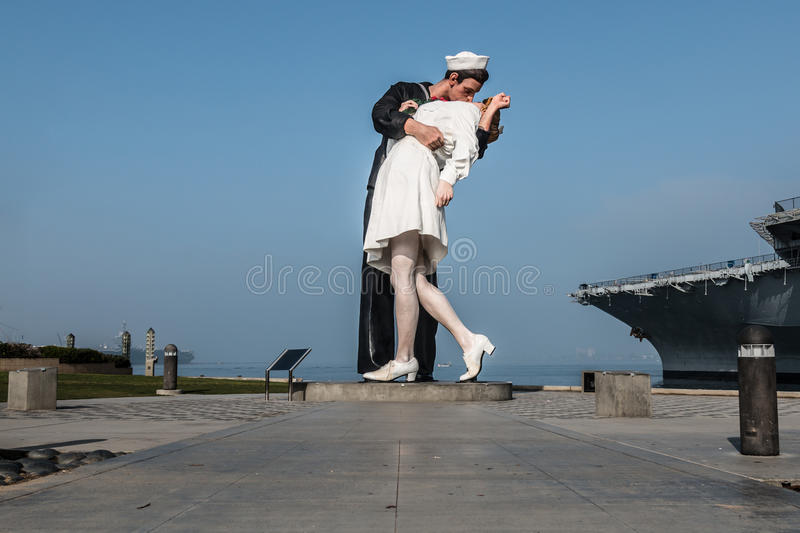 Unconditional Surrender Sculpture by Seward Johnson. SAN DIEGO, CALIFORNIA - FEBRUARY 29, 2016: The Unconditional Surrender sculpture, designed by Seward Johnson royalty free stock image