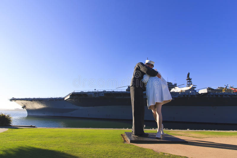 Unconditional Surrender Statue in San Diego. Unconditional Surrender is a three-dimensional interpretation of a photo taken by Alfred Eisenstaedt of a Sailor stock images