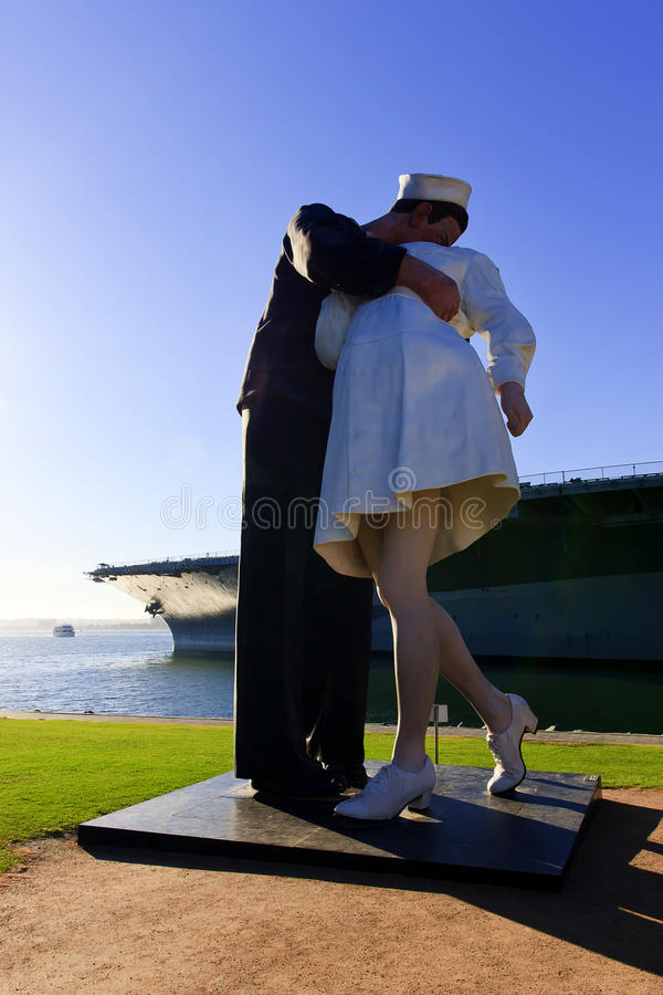 Unconditional Surrender WWII Statue in San Diego. Unconditional Surrender is a three-dimensional interpretation of a photo taken by Alfred Eisenstaedt of a stock photography