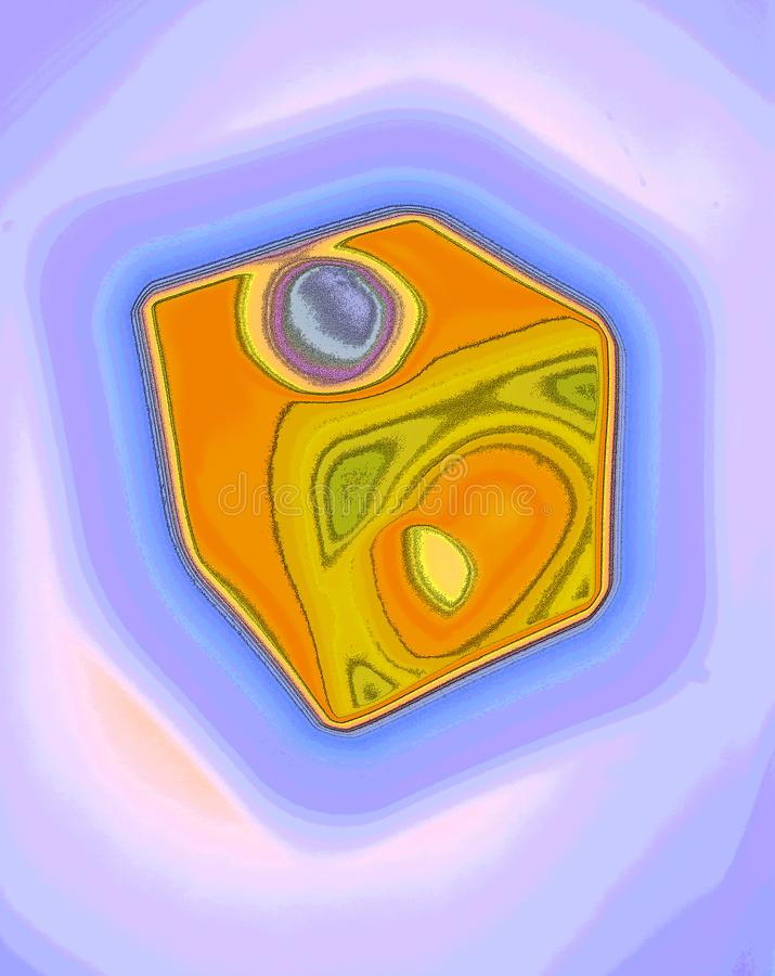 Miraculous Dice Abstracted. Unconventional Experimental Surreal Inventive abstract artwork generated by computer, miraculous enigmatic forms and curves Could be stock illustration