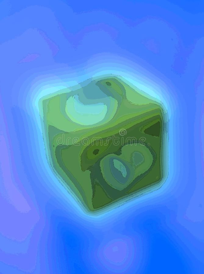 Miraculous Green Dice Abstracted. Unconventional Experimental Surreal Inventive abstract artwork generated by computer, miraculous enigmatic forms and curves royalty free illustration