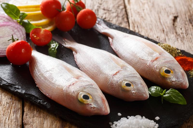 Uncooked dorado or gilt-head sea bream fish with spices, tomato, onion and lemon close up on a slate board. horizontal. Uncooked dorado or gilt-head sea bream stock image