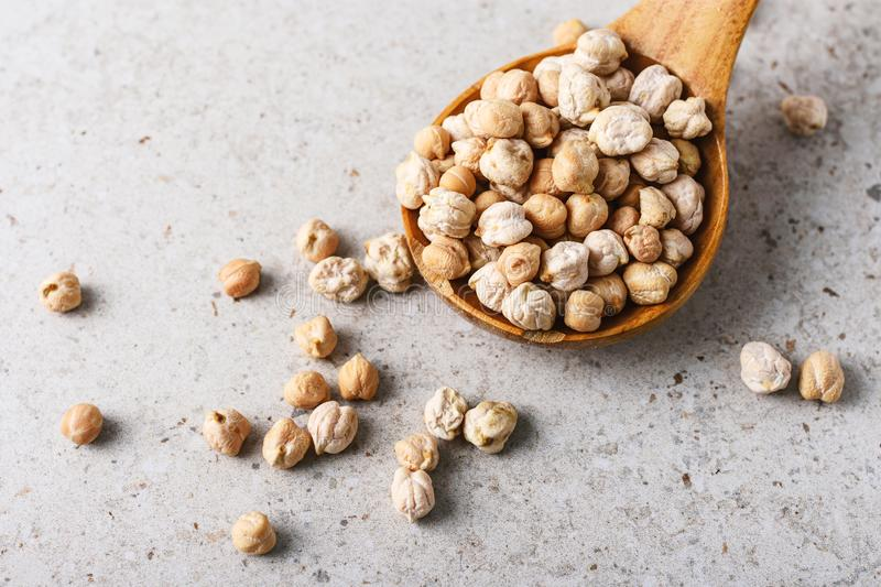 Uncooked dried chickpeas royalty free stock photo