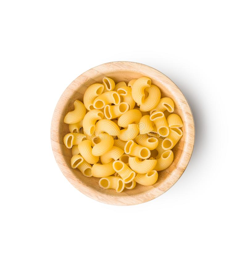 Uncooked elbow macaroni. royalty free stock photography