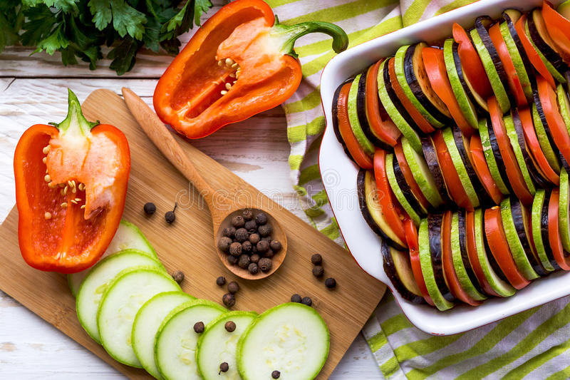 Uncooked homemade French ratatouille. Healthy food concept. Uncooked homemade ratatouille. Traditional French Provencal vegetable dish. Healthy food concept stock photos