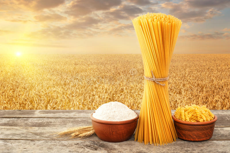 Uncooked pasta from durum wheat stock images