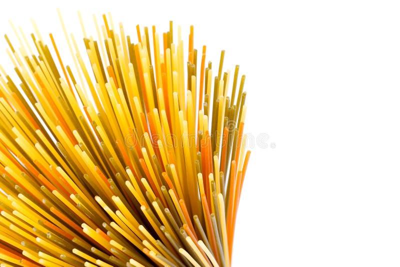 Uncooked pasta spaghetti macaroni,. Isolated on white background stock photos