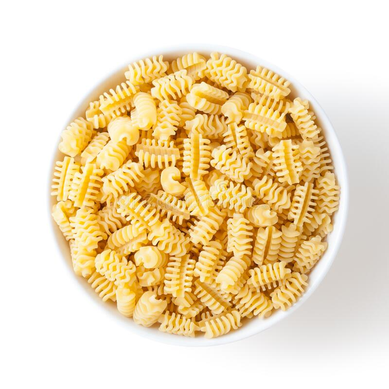 Free Uncooked Radiatori Pasta In White Ceramic Bowl Isolated On White Background Stock Images - 217912124