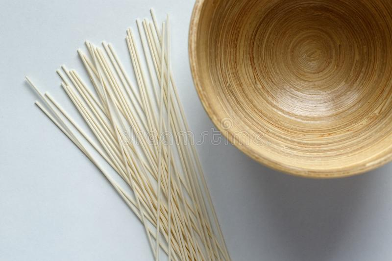 Uncooked rice noodles. royalty free stock images