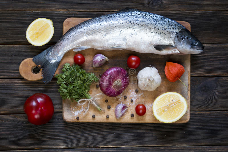 Uncooked salmon, fresh fish stock images