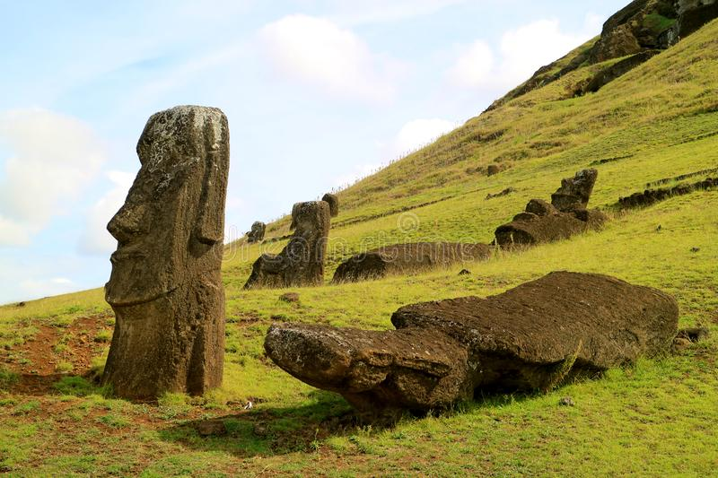 Uncountable giant Moai statues scattered on the slope of Rano Raraku volcano, Archaeological site in Easter Island, Chile. South America stock photo