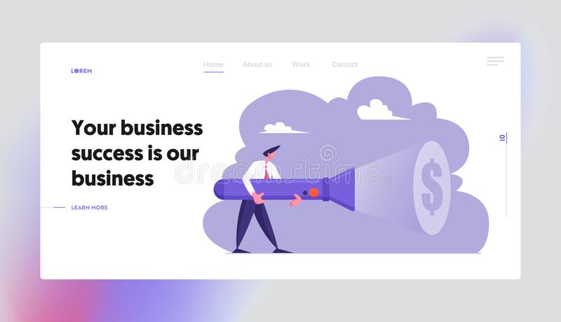 Uncovering Hidden Income Source Website Landing Page, Business Man Holding Huge Flashlight Lighting Up Dollar Sign. On Wall, Search Money, Way to Earn Web Page royalty free illustration