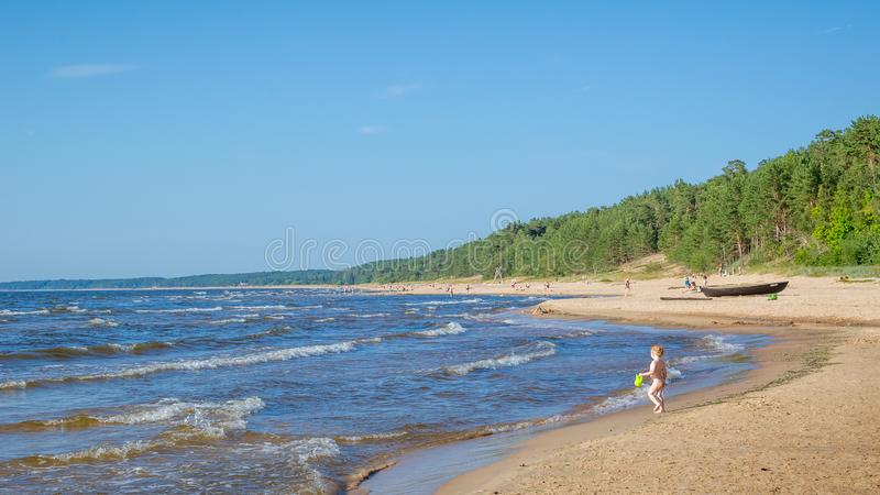 Uncrowded summer beach on the shores of the cold Baltic Sea royalty free stock photo