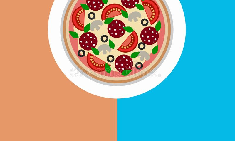 Uncut round pizza on the table copy space 3D illustration royalty free illustration