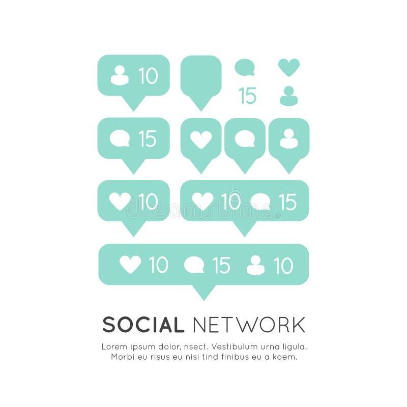 Und Blasen-Mitteilung für folgende Website, Blog, Schnittstellen, Soziales Netz und Medien lizenzfreie abbildung