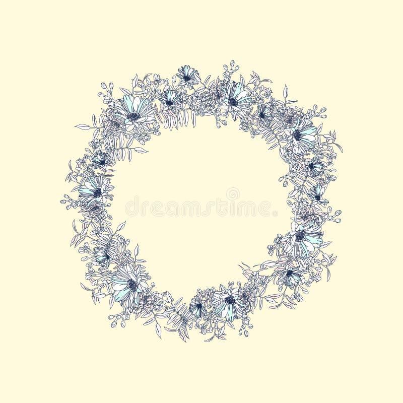 Und eleganter und romantischer grafischer Blumenkranz des gezeichneten Sommers mit Kamille lizenzfreies stockbild