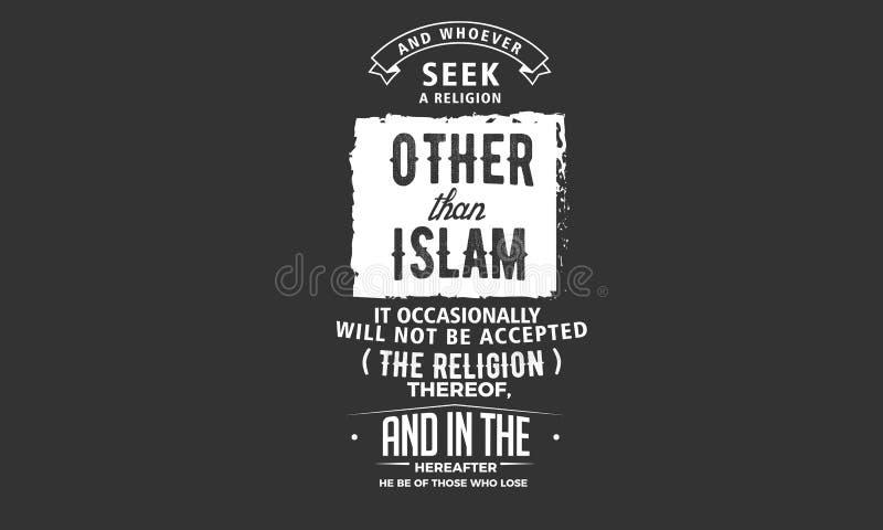 Und wer auch immer Suchvorgang eine Religion anders als Islam stock abbildung
