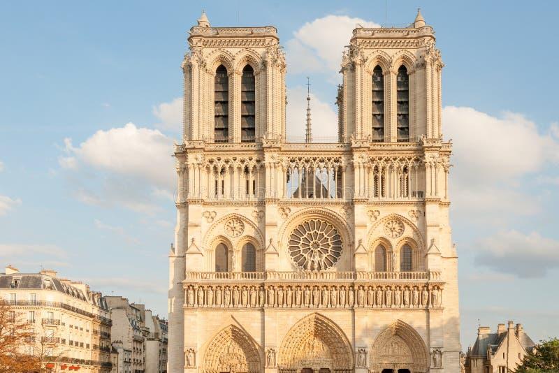 Undamaged facade of Notre Dame de Paris royalty free stock images