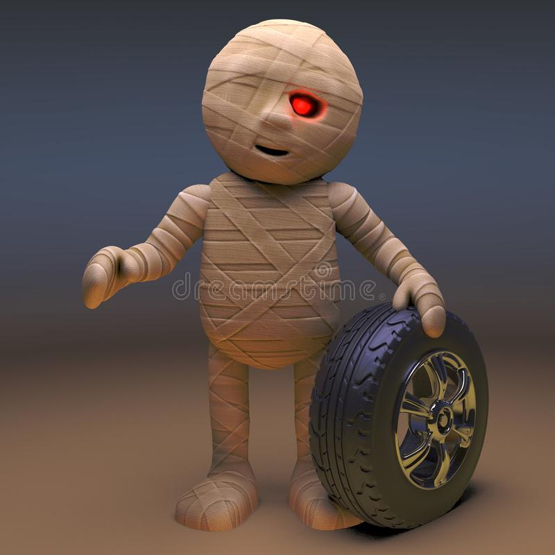 Undead Egyptian mummy monster with a car wheel, 3d illustration. Render stock illustration