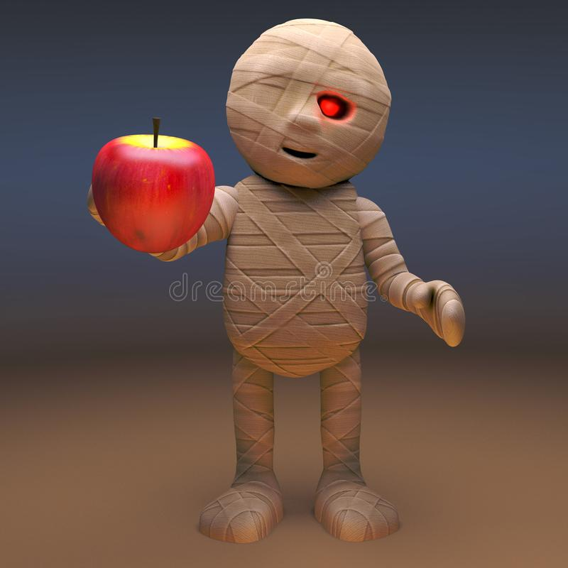 Undead Egyptian mummy monster eating an apple, 3d illustration. Render stock illustration