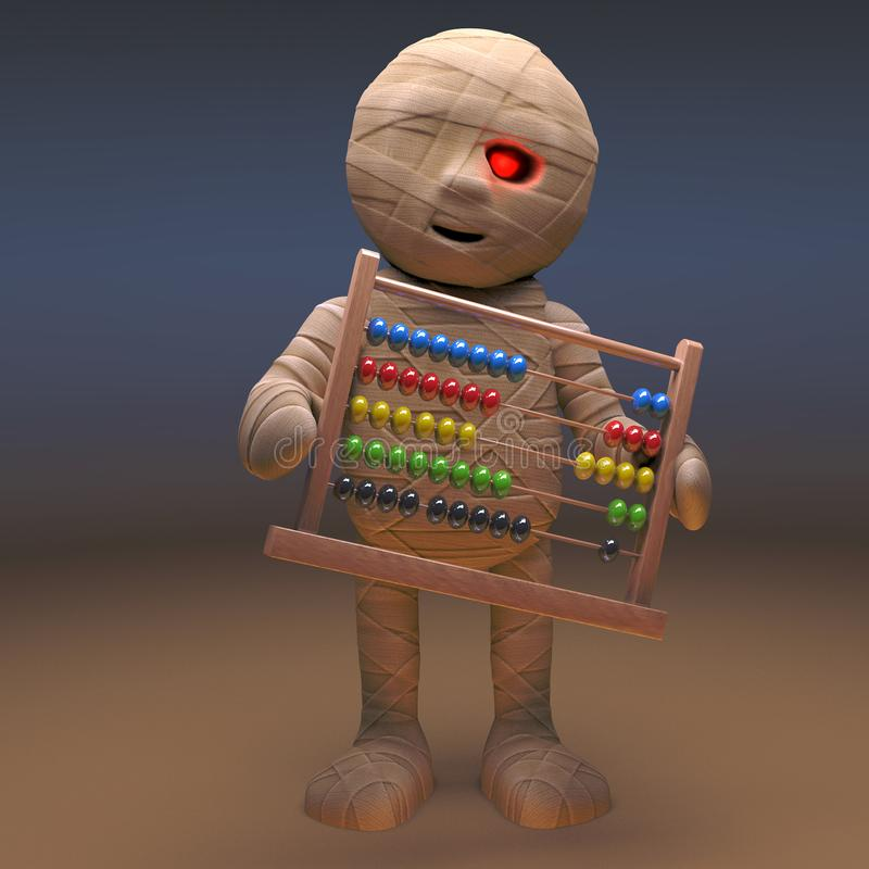 Undead Egyptian mummy monster holding an abacus, 3d illustration. Render vector illustration