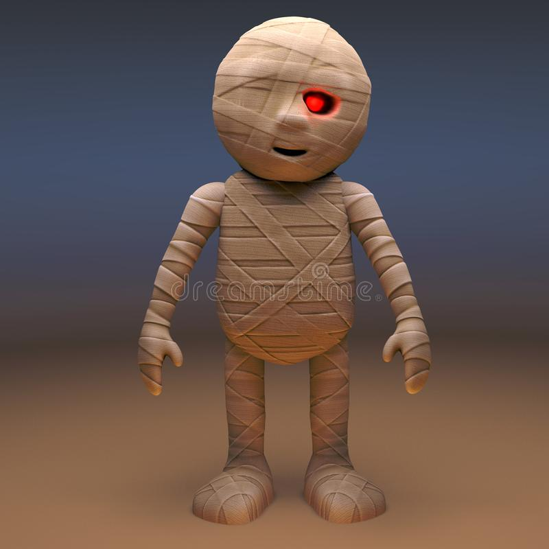 Undead Egyptian mummy monster stands still, 3d illustration. Render royalty free illustration
