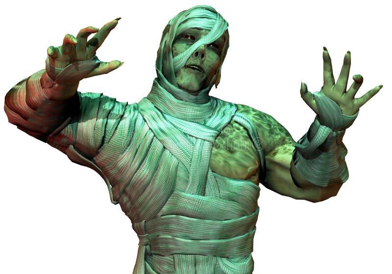 Undead mummy in the green neon light stock illustration