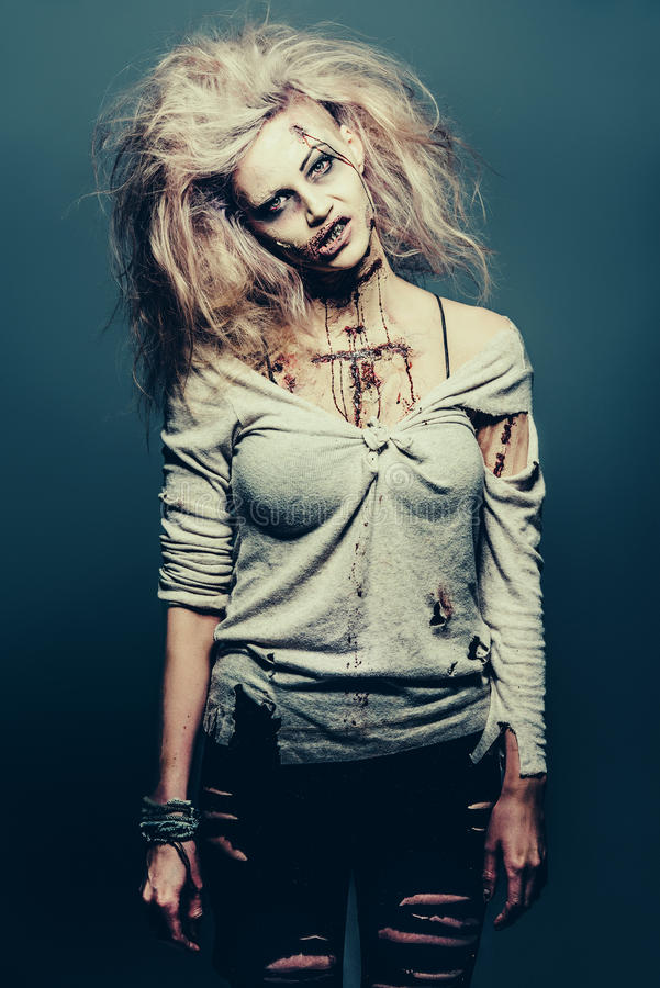 Undead zombie girl stock photo