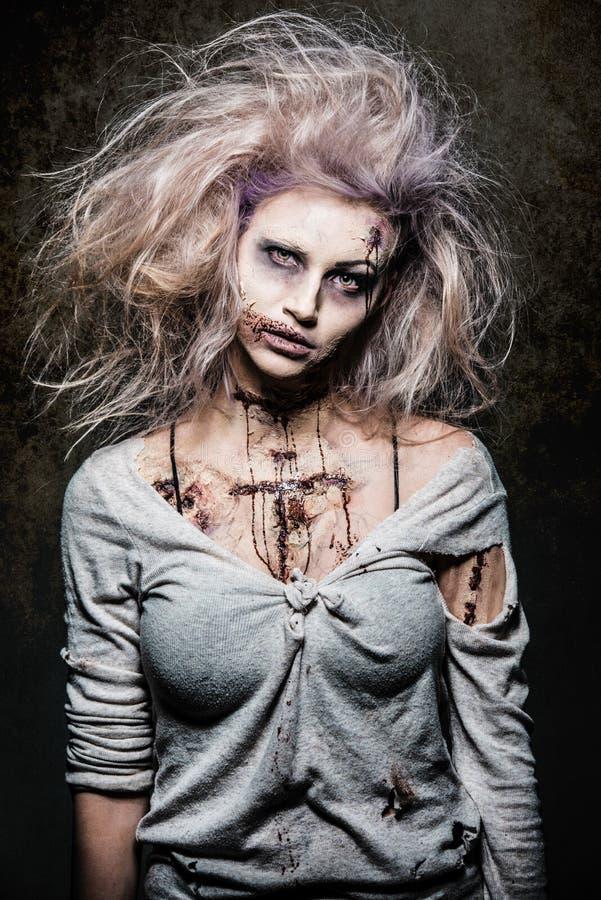 Undead zombie girl stock image