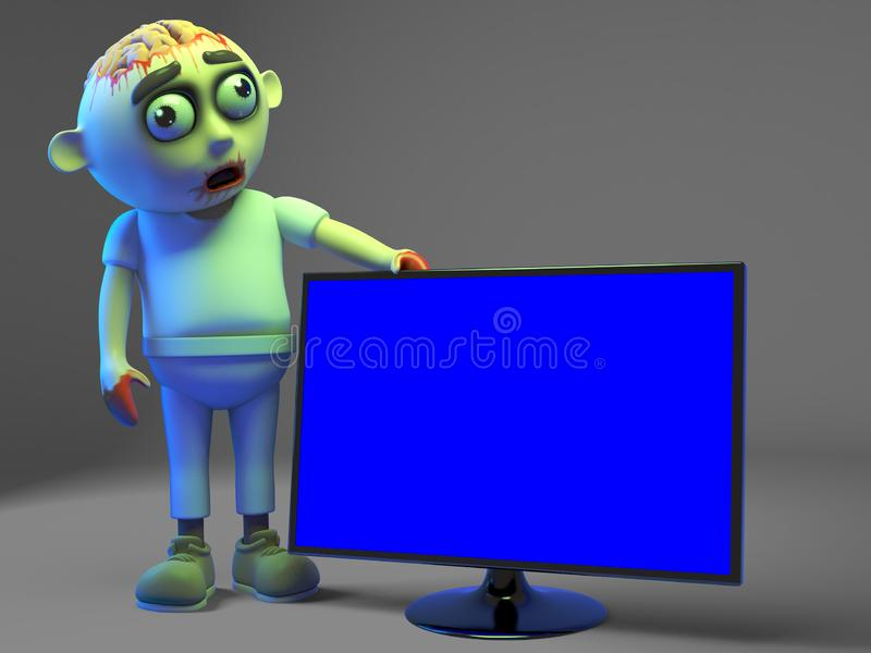 Undead zombie monster is impressed with his new widescreen television monitor, 3d illustration. Render royalty free illustration