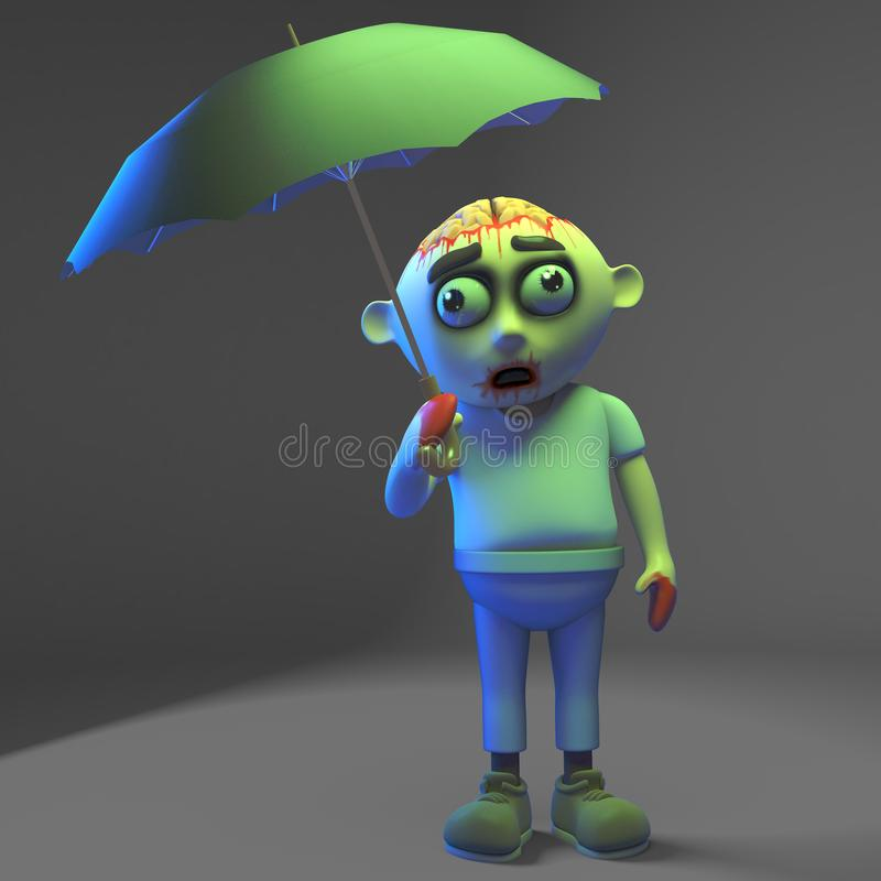 Undead zombie monster likes to sing while it rains under his umbrella, 3d illustration. Render vector illustration