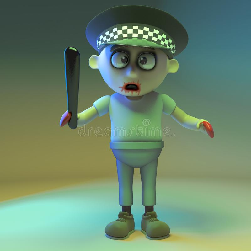Undead zombie monster police officer, 3d illustration. Render vector illustration