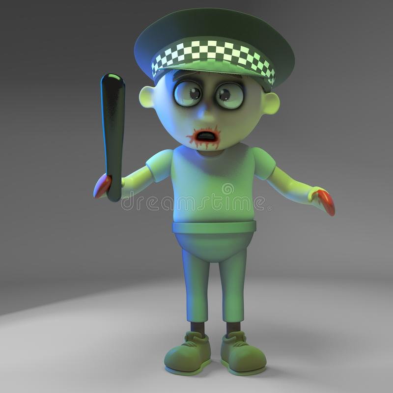 Undead zombie monster policeman with truncheon, 3d illustration. Render royalty free illustration