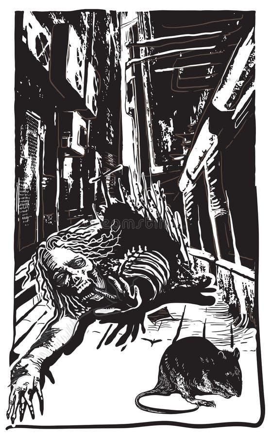 Undead, Zombie - Vektor, freihändig skizzierend stock abbildung