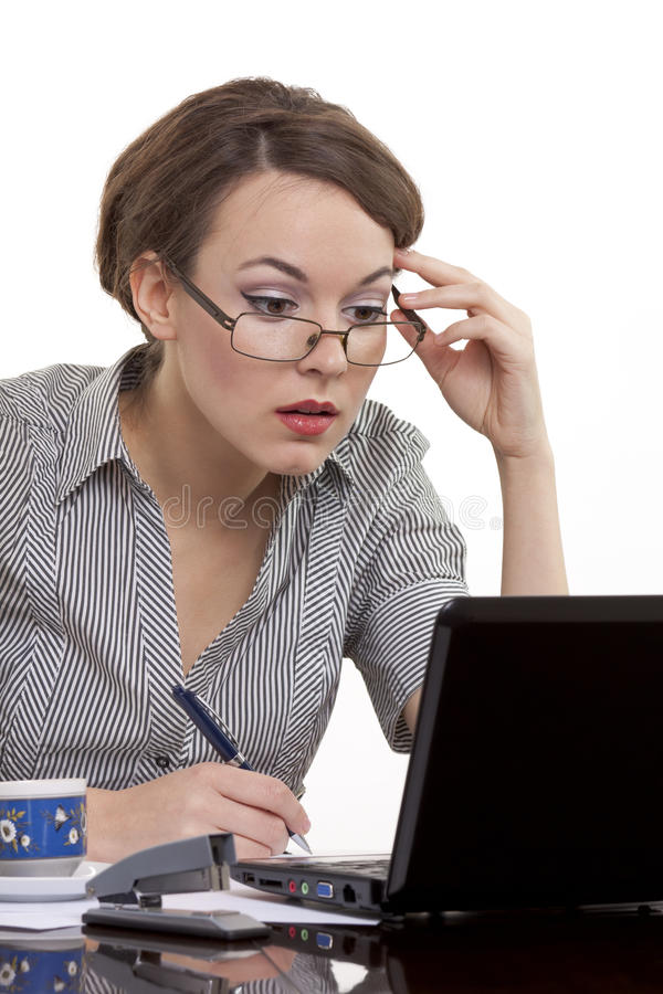 Undecided business woman royalty free stock image