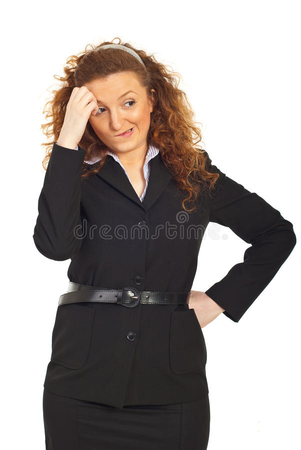 Undecided and thinking business woman stock image