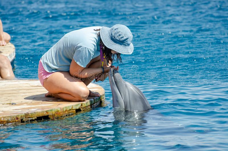 The undefined girl trainer with dolphin at the Dolphin Reef in Eilat, on the shores of the Red Sea. Israel royalty free stock photos