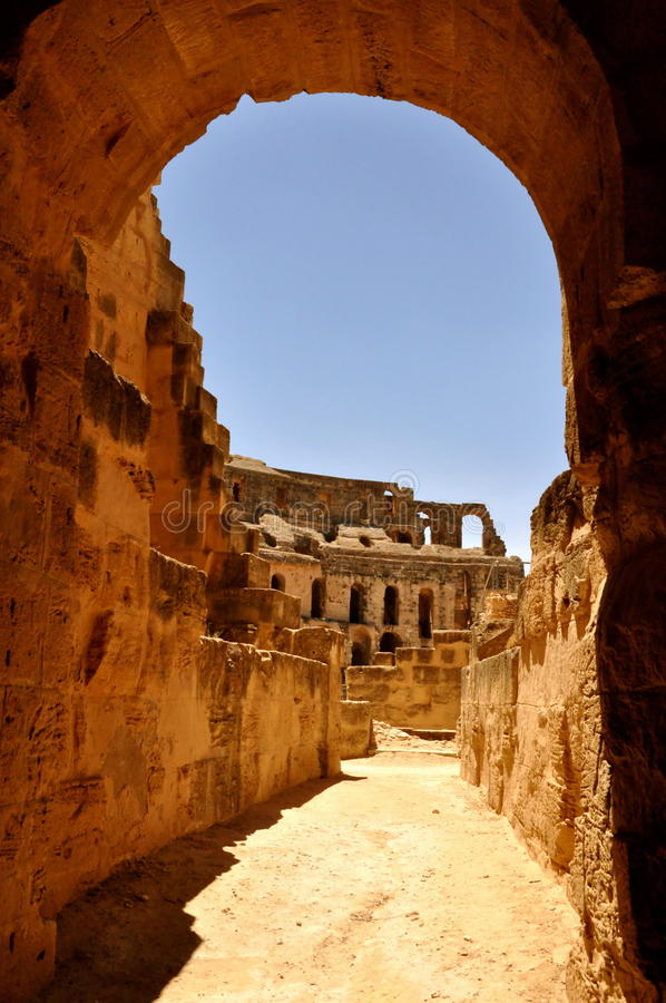 Under the arches of the amphitheater stock images