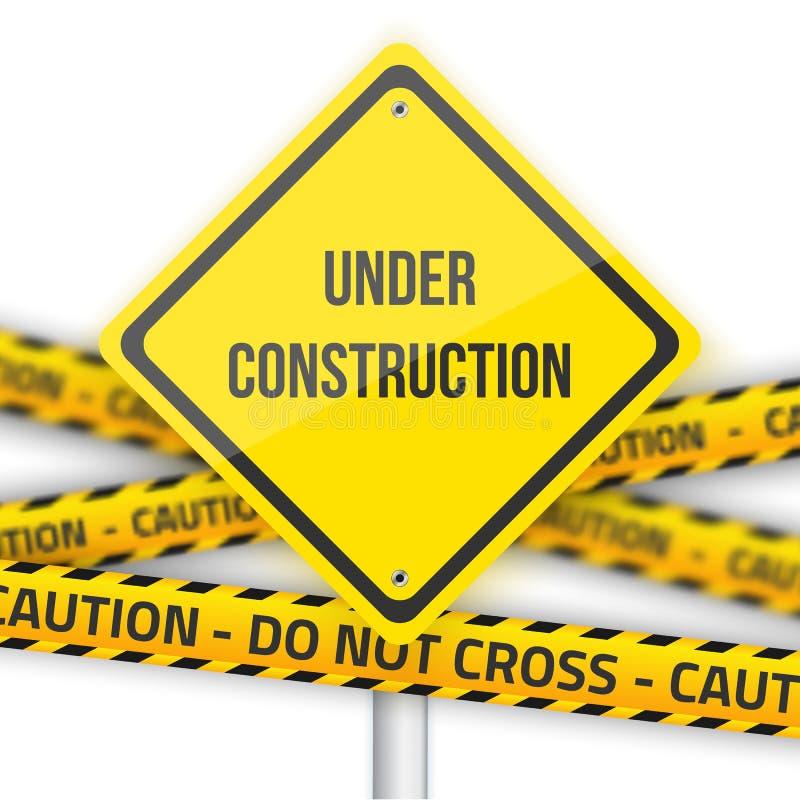 Under bakgrund för konstruktionsvektorvägmärke med gula Polic stock illustrationer
