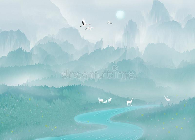 Under the beautiful mountain, the deer rests by the lake and play in singular landscape royalty free illustration