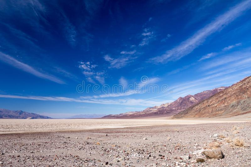 Lowest point of North America - salt flats at Badwater, California royalty free stock photos