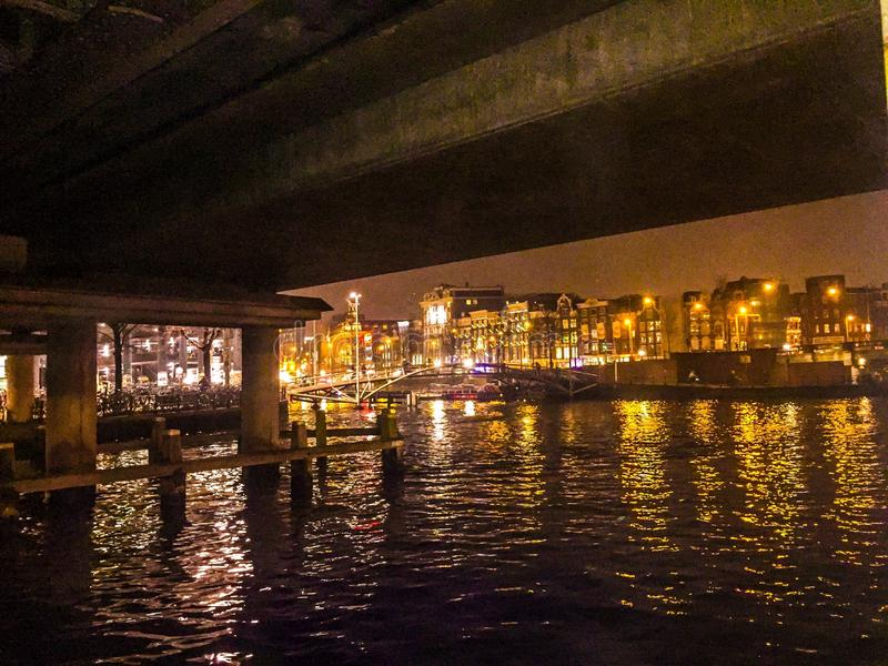 Under a bridge stock photo