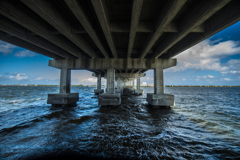 Under bridge with ocean water. Large body of water rushing under the bridge with blue skies and concrete pillars stock photos